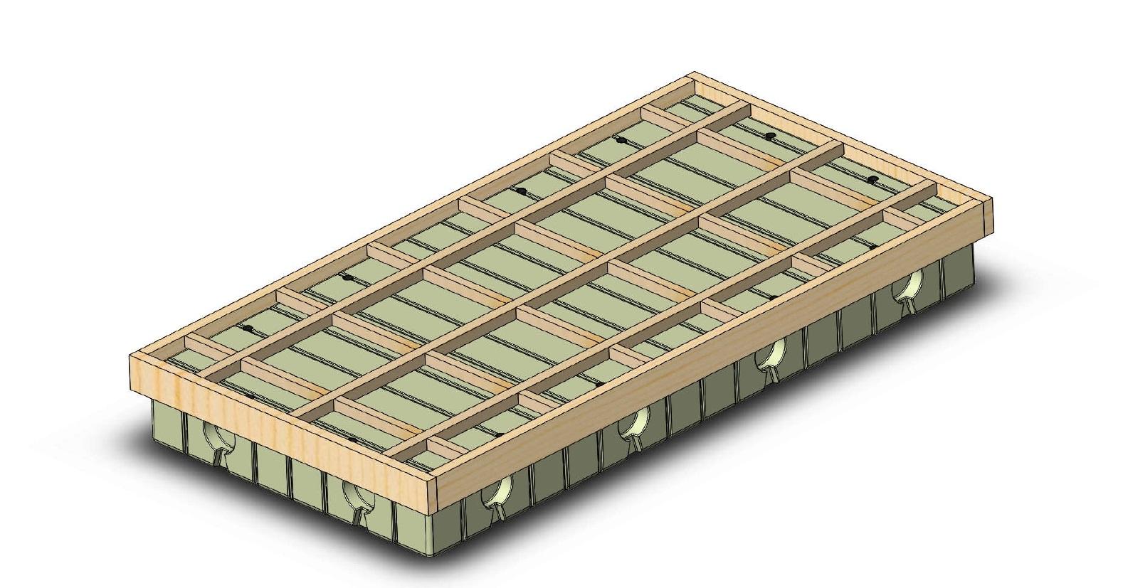 pomost pływający, połączenie z drewnem